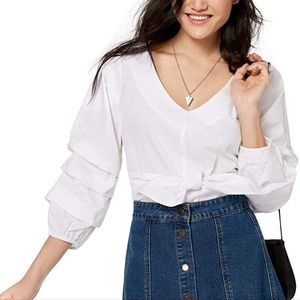 From Macys Ultra-Flirt ruffled sleeve blouse from